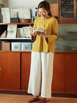 How to wear: mustard long sleeve blouse, white wide leg pants, brown leather loafers