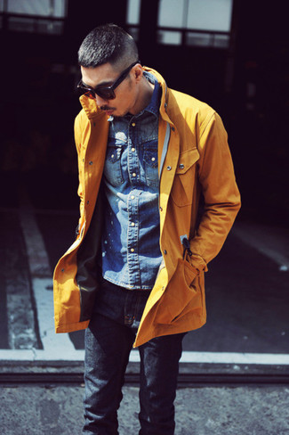Pair a mustard jacket with dark blue jeans for a casual-cool vibe.