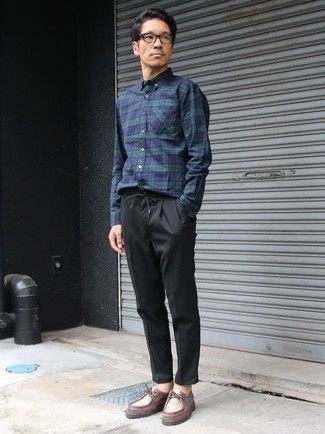 Navy and Green Plaid Long Sleeve Shirt Outfits For Men: Such items as a navy and green plaid long sleeve shirt and black chinos are the perfect way to infuse extra cool into your current off-duty fashion mix. To introduce a little fanciness to this look, complement this outfit with a pair of burgundy leather desert boots.