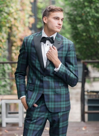 How to Wear a Black Bow-tie For Men: This casual pairing of a navy and green plaid suit and a black bow-tie is a lifesaver when you need to look nice in a flash.