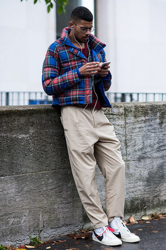 How to wear: navy and red plaid bomber jacket, burgundy horizontal striped crew-neck t-shirt, beige chinos, white leather high top sneakers