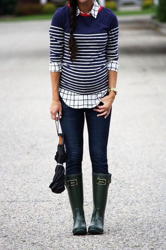 Green Rubber Tall Rainboots