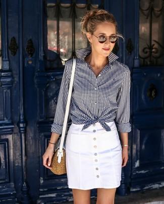 4dd27f0516e034 ... Women's Navy and White Gingham Dress Shirt, White Button Skirt, Tan  Straw Crossbody Bag