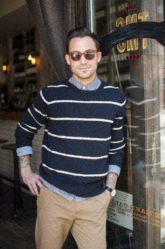 Mens Navy and White Horizontal Striped Crew,neck Sweater, White and Blue Vertical Striped
