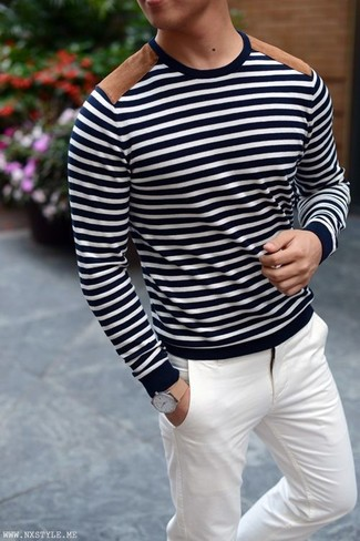 A navy and white horizontal striped crew-neck sweater with white chino pants has become an essential combination for many style-conscious men. Keep this getup in mind when spring sets it, and rest assured, you'll save time trying to pick out what to wear on more than one morning.