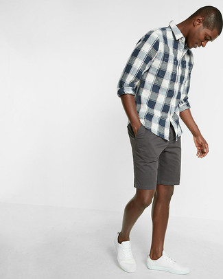 How to wear: navy and white plaid long sleeve shirt, charcoal shorts, white low top sneakers