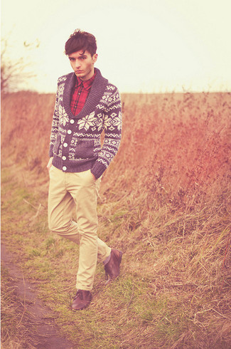 How to wear: navy and white fair isle shawl cardigan, red plaid long sleeve shirt, beige chinos, brown leather derby shoes