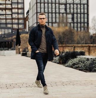 How to wear: navy barn jacket, dark brown turtleneck, navy jeans, olive suede desert boots