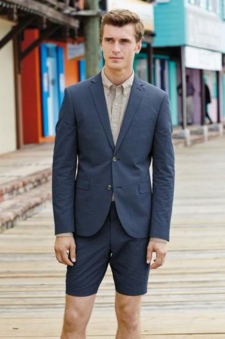 How to wear: navy blazer, beige dress shirt, navy shorts