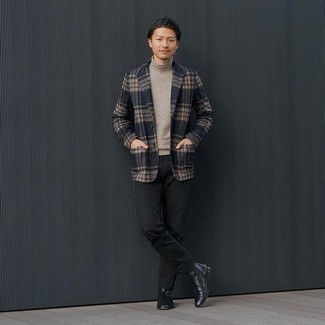 Black Chinos Outfits: You'll be surprised at how very easy it is for any gent to get dressed this way. Just a navy plaid blazer matched with black chinos. Black leather chelsea boots are an effective way to bring an added touch of style to this getup.