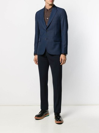 How to wear: navy blazer, black print dress shirt, navy dress pants, black leather derby shoes