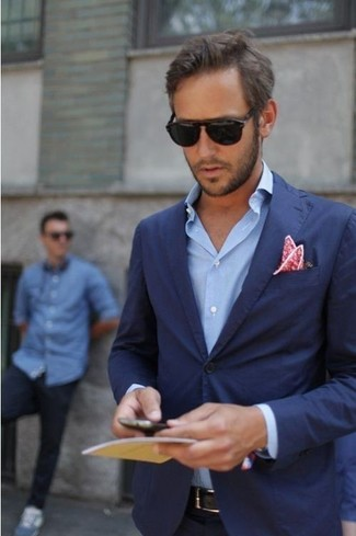 How to wear: navy blazer, blue long sleeve shirt, red floral pocket square