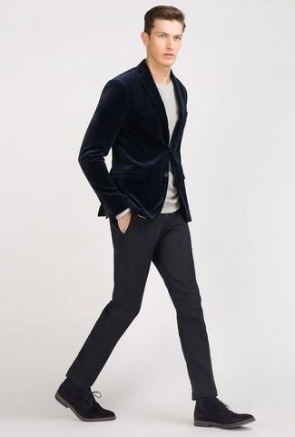 Men's Navy Velvet Blazer, Grey Crew-neck Sweater, Navy Dress Pants, Black Suede Desert Boots