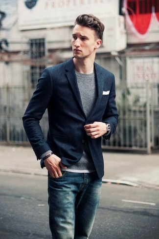 Navy Textured Wool Two Button Blazer