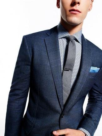 How to wear: navy plaid blazer, grey polka dot dress shirt, black polka dot tie, light blue pocket square