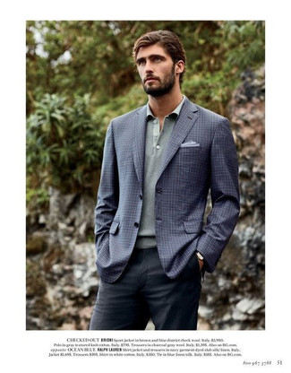 How to wear: navy check blazer, grey polo neck sweater, charcoal dress pants, light blue pocket square