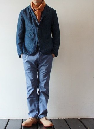 Navy Linen Blazer Outfits For Men: This combo of a navy linen blazer and light blue chinos comes to rescue when you need to look on-trend in a flash. If you want to break out of the mold a little, complement your getup with a pair of beige suede derby shoes.