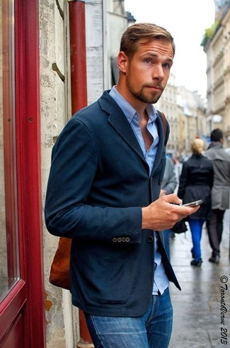 Men's Navy Blazer, Light Blue Dress Shirt, Blue Skinny Jeans ...