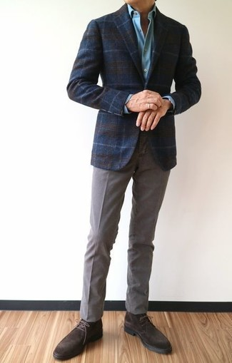 How to wear: navy plaid wool blazer, light blue dress shirt, grey chinos, dark brown suede desert boots
