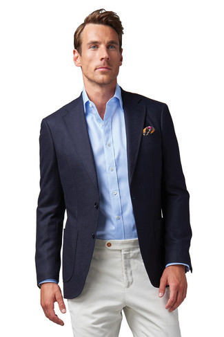 4bfcd513 How to wear: navy blazer, light blue dress shirt, white chinos, multi