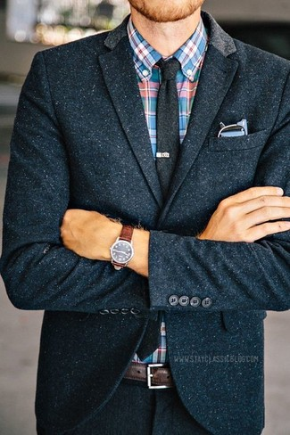 How to wear: navy wool blazer, multi colored plaid long sleeve shirt, charcoal wool tie, dark brown leather belt