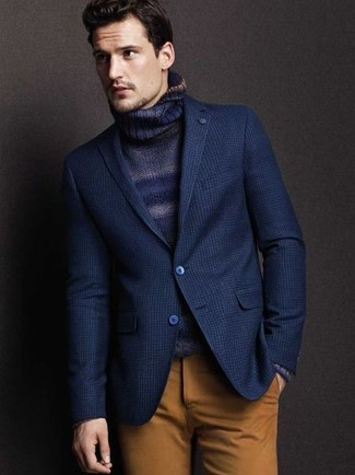 Consider pairing a turtleneck with brown chinos to achieve a dressy but not too dressy look.