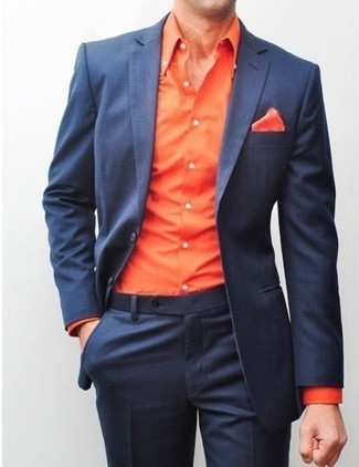 How to wear: navy blazer, orange long sleeve shirt, navy dress pants, orange pocket square