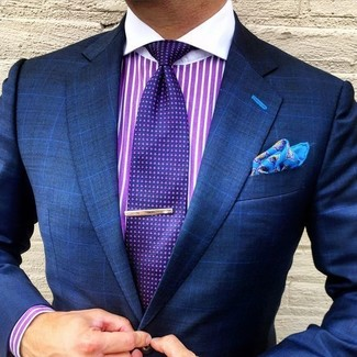Men's Navy Check Blazer, Purple Vertical Striped Dress Shirt