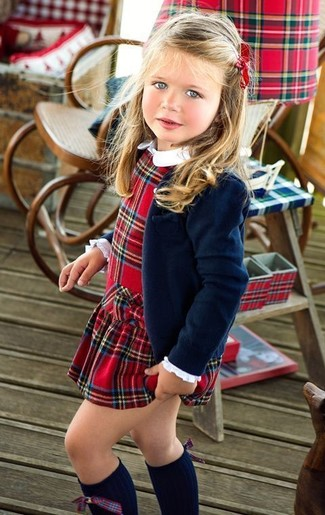 How to Wear Red Plaid Dress For Girls: Reach for red plaid dress and a navy blazer for your child for an elegant, fashionable look.