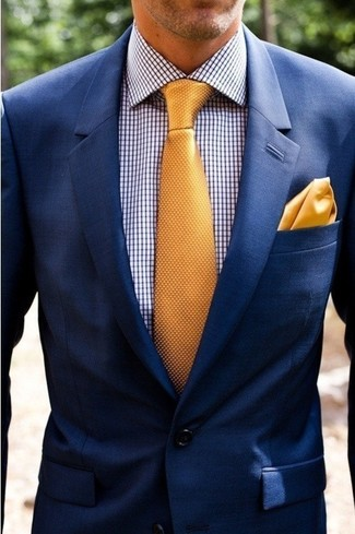 How to wear: navy blazer, white and navy gingham dress shirt, gold silk tie, gold silk pocket square