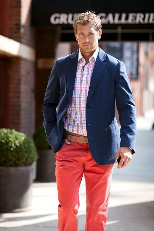 Men's Navy Blazer, White and Pink Plaid Dress Shirt, Red Chinos, Tan Canvas  Belt | Men's Fashion