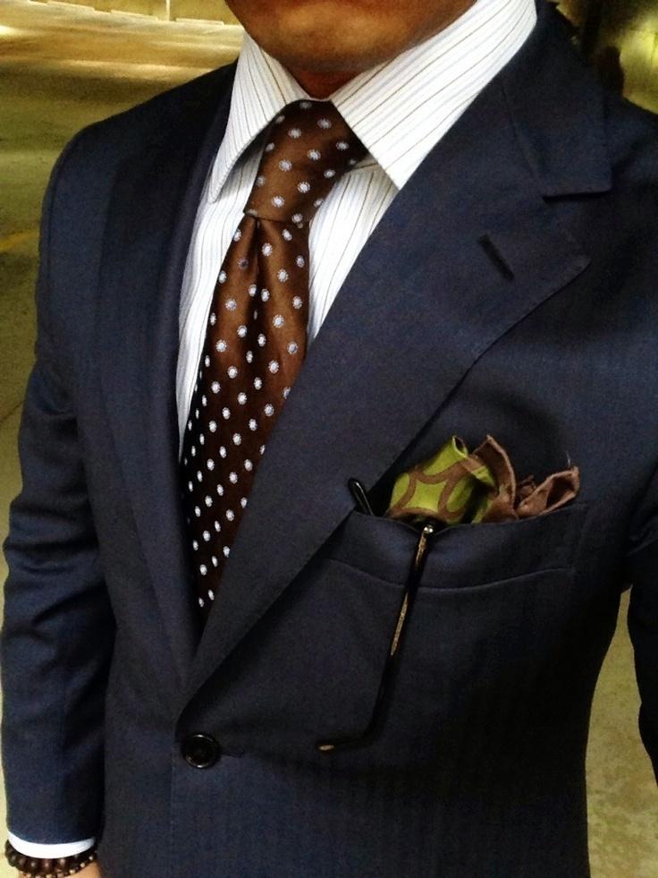 Men's Navy Blazer, White Vertical Striped Dress Shirt, Brown Polka Dot Silk  Tie, Olive Print Silk Pocket Square   Men's Fashion
