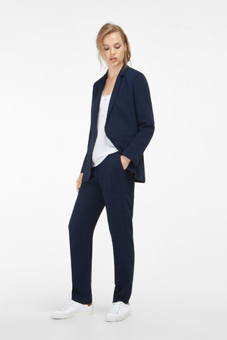 How to wear: navy blazer, white silk tank, navy dress pants, white leather low top sneakers