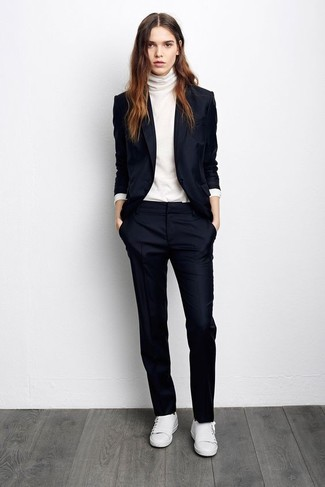 How to wear: navy blazer, white turtleneck, navy dress pants, white leather low top sneakers
