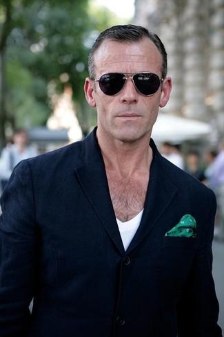 Men's Navy Blazer, White V-neck T-shirt, Green Print Silk Pocket Square