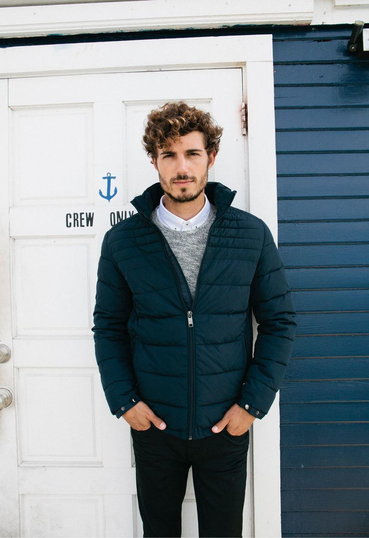 Men's Navy Quilted Bomber Jacket, Grey Crew-neck Sweater, White ...
