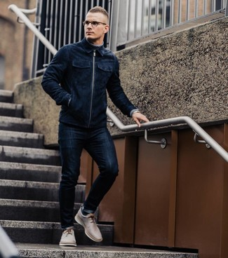 How to wear: navy suede bomber jacket, grey turtleneck, navy skinny jeans, beige leather derby shoes