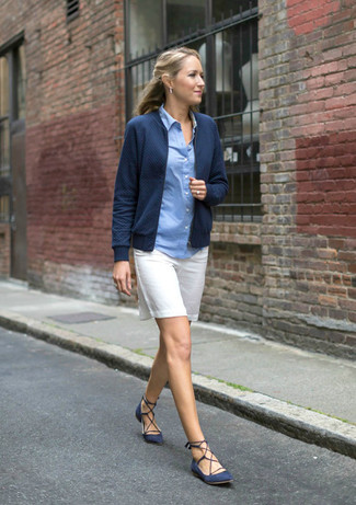 How to wear: navy bomber jacket, light blue dress shirt, white bermuda shorts, navy suede ballerina shoes