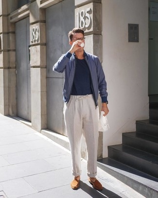How to wear: navy bomber jacket, navy crew-neck t-shirt, beige linen chinos, tobacco suede loafers