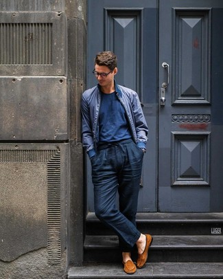 How to wear: navy bomber jacket, navy crew-neck t-shirt, navy linen chinos, tobacco suede loafers