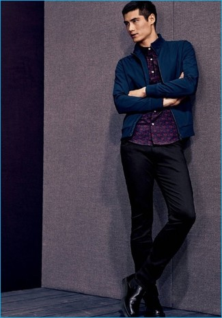 How to wear: navy bomber jacket, navy print long sleeve shirt, black chinos, black leather chelsea boots
