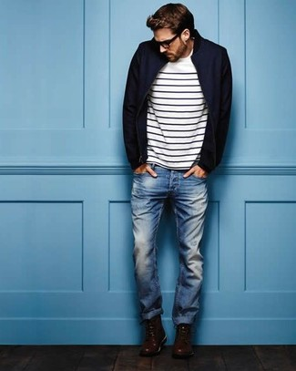 Men's Navy Bomber Jacket, White and Black Horizontal Striped Crew-neck T-shirt, Blue Jeans, Dark Brown Leather Casual Boots