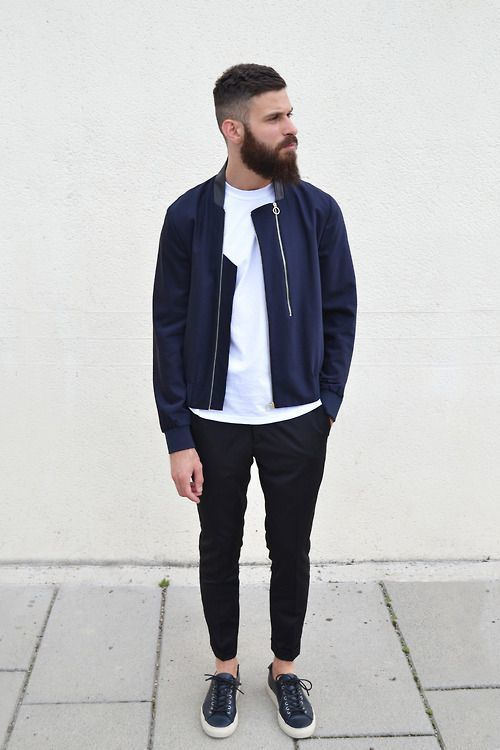 How to Wear a Navy Bomber Jacket (77 looks) | Men's Fashion