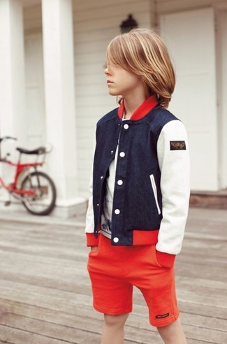 How to Wear a Navy Bomber Jacket For Boys: A navy bomber jacket and red shorts are a nice outfit for your little angel to wear when you go on walks.