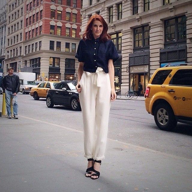 Women's Navy Button Down Shirt, White Silk Wide Leg Pants ...