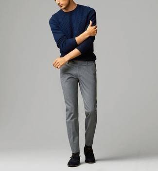 How to Wear Grey Chinos: This combo of a navy cable sweater and grey chinos is on the casual side but will guarantee that you look seriously stylish and truly sharp. Black suede oxford shoes will breathe an extra touch of style into an otherwise mostly casual outfit.