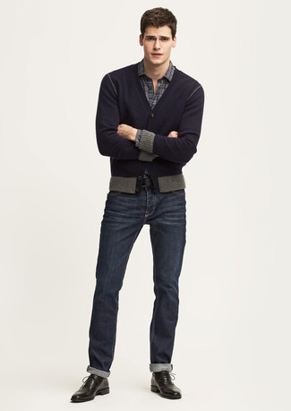 How to Wear a Charcoal Plaid Long Sleeve Shirt For Men: If you're looking for a casual yet sharp ensemble, consider pairing a charcoal plaid long sleeve shirt with navy jeans. Introduce a pair of black leather oxford shoes to the equation to instantly kick up the classy factor of your look.
