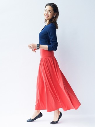 How to wear: navy cardigan, red pleated maxi skirt, black leather ballerina shoes, black leather bracelet