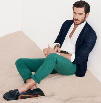 Men's Navy Cardigan, White Long Sleeve Shirt, Green Chinos, Black Leather Tassel Loafers