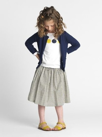 How to wear: navy cardigan, white print long sleeve t-shirt, grey skirt, yellow sandals